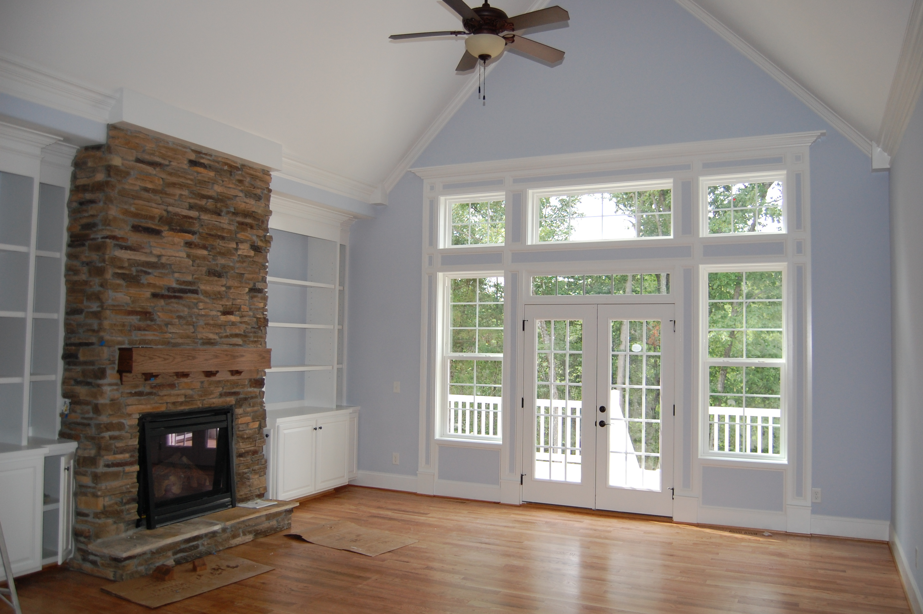 Stone Fireplace Custom Built Ins Vaulted Ceiling Arena Builders Award Winning Home