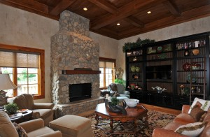 Family Room Trayed Ceiling Custom Built-Ins Stacked Stone Fireplace