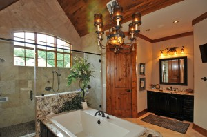 Master Bath Stone And Glass Shower Enclosure Whirlpool Tub