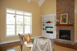 Family Room Stone Fireplace Custom Built-Ins