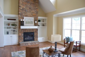 Family Room Vaulted Ceiling Custom Built Ins Stone Fireplace