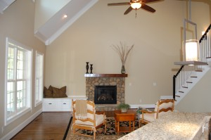 Family Room Vaulted Ceiling River Stone Fireplace