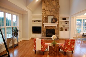 Family Room Vaulted Ceiling Natural Stone Fireplace Custom Built-Ins