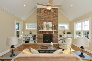 Family Room Stone Vent Free Fireplace Custom Book Cases Vaulted Ceiling