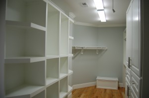 Master Closet Left Half Custom Built Cubbies