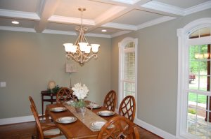 Dining Room Arched Windows Coffered Ceiling