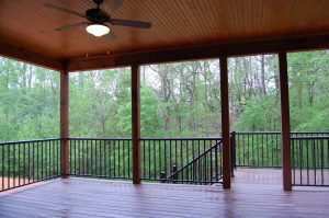 Rear Porch Stained Bead Board Ceiling Cedar Posts and Metal Railings