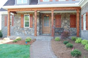 Front Entry Stained Cedar Posts