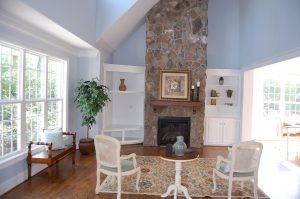 Vaulted Family Room Natural Stone Fireplace Custom Built-Ins